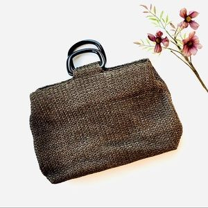 Fossil Brown Straw Woven Basket Bag